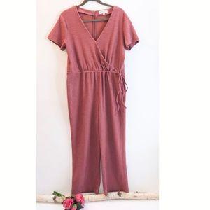Madewell Texture&Thread Short-Sleeve Wrap Jumpsuit